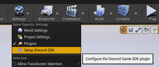 Select the Setup Discord SDK under Settings